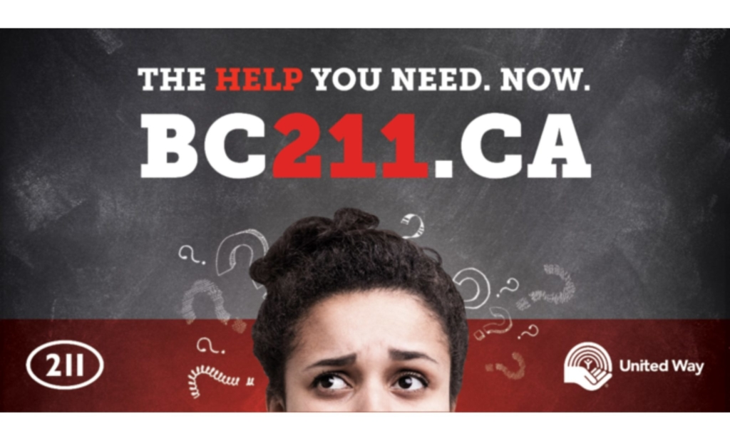 """""""The help you need. Now. bc211.ca"""""""