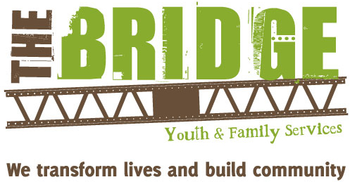 """""""The Bridge Youth & Family Services: We transform lives and build community"""" logo"""