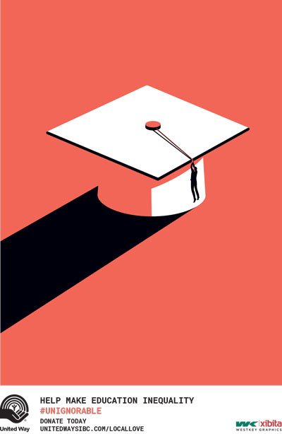 A poster shows a mortarboard tassel cap with a long pillar-like shadow behind it. Below it is text saying