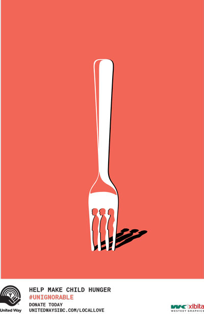 A poster shows a fork, with the tines separated by outlines of children in profile. Below it is text saying