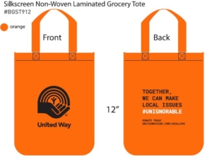 Description of a tote bag. Silkscreen Non-Woven Laminated Grocery Tote #BGST912 in orange. The side length is shown to be 12 inches. The front has the United Way logo on it, while the back has