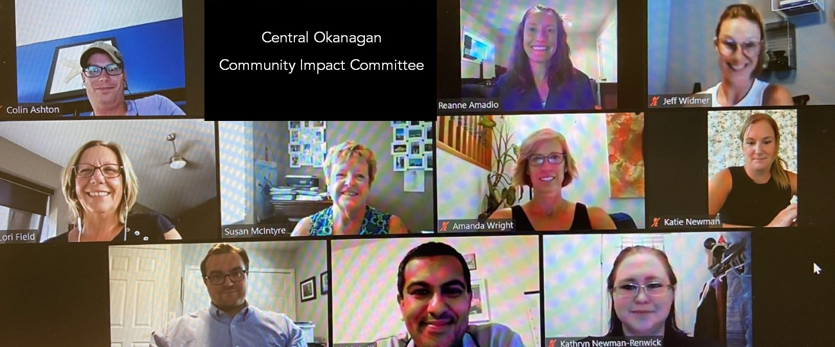 Screenshot of a Zoom meeting of the Central Okanagan Community Impact Committee