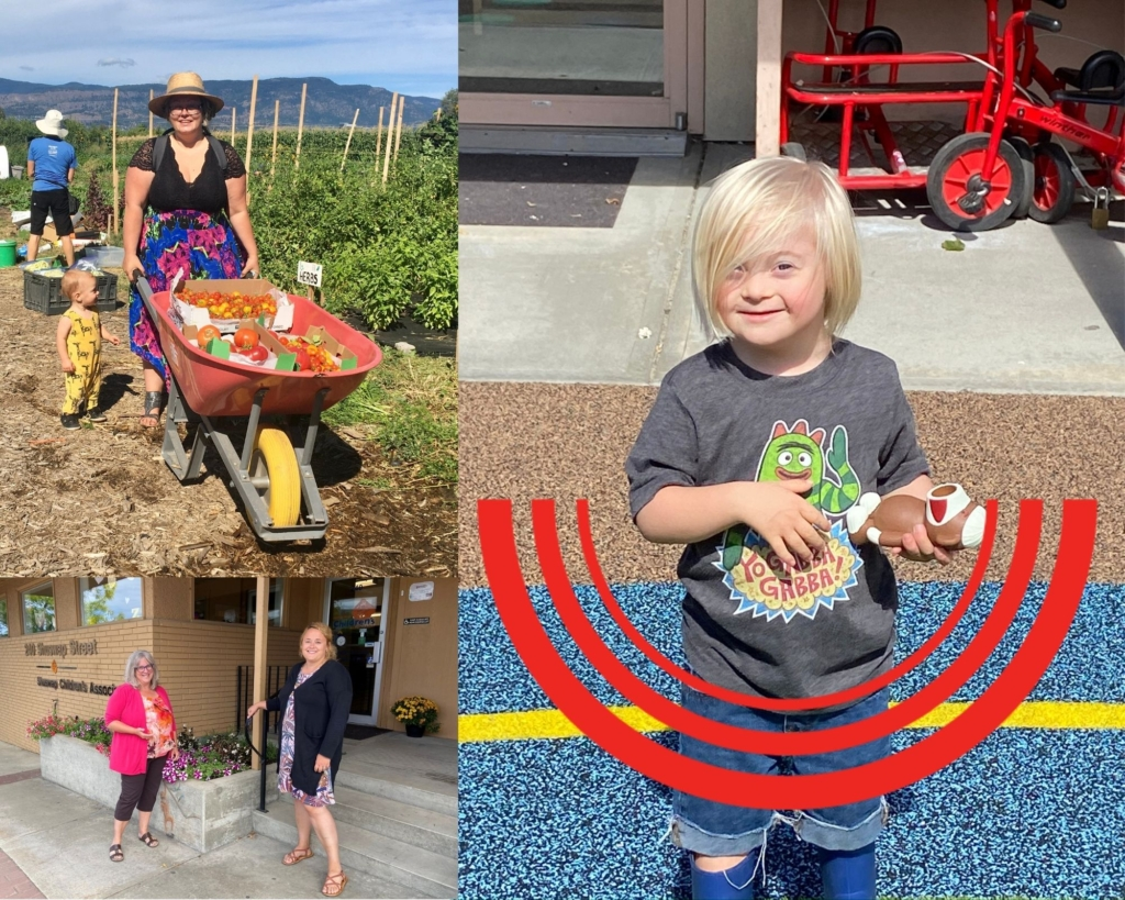 A collage of 3 images. Clockwise from top left: a person hauling vegetables in a wheelbarrow on a farm, a child holding a toy with 3 semicircular arcs below their torso, two people standing outside a building.
