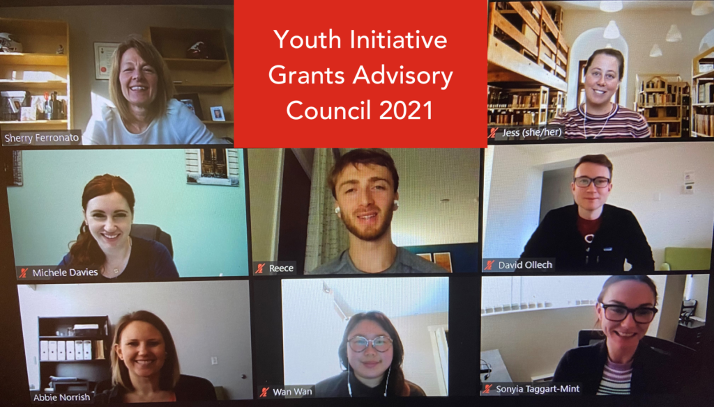 Screenshot of a Zoom meeting of the 2021 Youth Initiative Grants Advisory Council