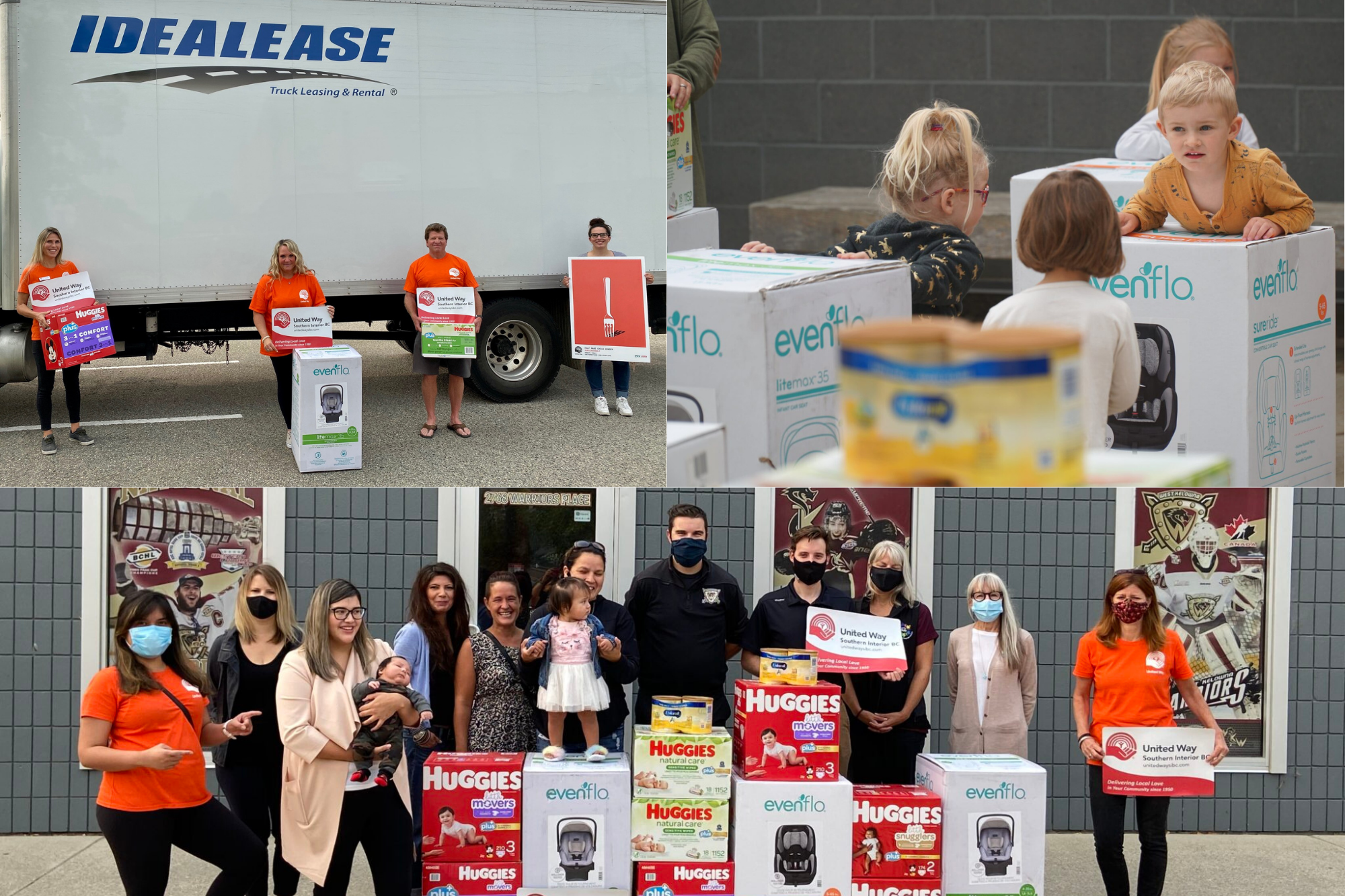 A collage of three images. At top left, 4 people hold signs and child safety products in front of a large panel truck. At top right, several young children stand or sit around boxes of carseats. At bottom, a large group of people hold signs and smile behind a large pile of boxes of child safety items.